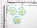 3 x Flower Blue & Yellow Iron On Embroidered Applique