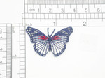 Butterfly Iron On Patch Applique  Blue Red & White
