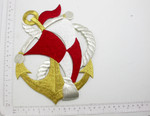 Giant Anchor Boat with Sail Iron On Embroidered Patch Applique