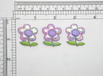 "3 x Flower Purple Sparkle Embroidered iron On Patch  Measures 15/16"" across x 1 1/8"" high"