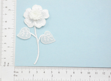 White Bridal Flower Patch Embroidered Iron on Applique