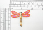 "Dragonfly Patch Orange Sparkle Iron On Embroidered Applique 1 1/2"" x 1 3/4"""