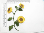 "Sunflowers Embroidered iron on applique 6 7/8""   Measures 6 7/8"" tall x 4 3/4"" at widest - fully embroidered"
