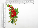 "Rose Flower Spray applique Iron On Embroidered Patch 3"" x 4 3/8"""
