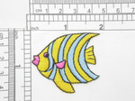 "Angel Fish Blue & Yellow Stripes Iron On Patch Applique Measures 1 7/8"" across x 1 5/8"" high"