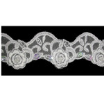 "Bridal Beaded Trim 2"" White"