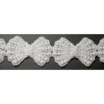 "Bridal Beaded Trim 1 3/4"" Bow White"