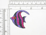 "Angel Fish Tropical Iron On Patch Applique  Fully Embroidered Measures 1 1/2"" across x 1 5/8"" high"