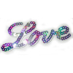 Iron On Patch Applique - LOVE Holographic Sequins