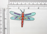 "Dragonfly Patch Sparkle Wings  Iron On Embroidered Applique Measures 2 5/8"" across x 1 7/8 high approx"