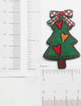 """Christmas Tree Rustic Heart Iron On Patch Applique 2"""" x 1 1/4"""""""