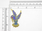 """Humming Bird Exotic Gem Eye Bird  Iron On Patch Applique  Measures 2 1/4"""" high  x 1 3/8"""" wide  Fully Embroidered with Rayon and Metallic Threads with a Red Faux Gem Eye Accent"""