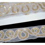 "Sheer 2"" White & Gold Sequin Trim 10 Yards"