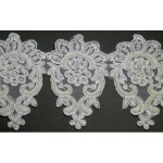 "Bridal Beaded Trim 4 1/2"" White"