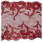 "Sheer 7 1/8"" Claret Sequinned Galloon Trim"