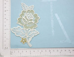 Rose Bridal Applique White & Metallic Gold Embroidered Iron On Patch R