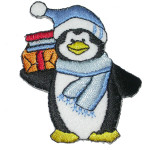 Christmas Penguin with Blue Hat Iron On Patch Applique