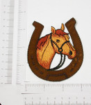 Horse Head in Horse shoe embroidered Iron On Patch Applique