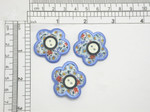 "3 x  Flower with Button Iron On Patch Applique    Embroidered Border on a Printed Backing with central Button Detail   measures 1 1/4"" across x 1 1/4"" high"