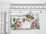 "Bee & Flowers Patch Iron On Embroidered Applique 2 7/8"" x 1 5/8"""