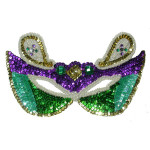 Sequin Applique - Mardi Gras Mask Purple - Face Size