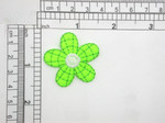 "3 x Daisy Green & White 5 Petal Iron On Patch Applique  Embroidered on Sateen Backing - Measures 1 1/2"" across"