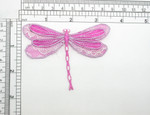 "Dragonfly Patch Hot Pink Lace Iron On Embroidered Applique Large Measures 3 1/2"" across x 2 7/8"" long"