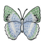 "Iron On Patch Applique - Butterfly 1 3/4"" Light Blue & Green"