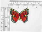 """Butterfly Iron On Embroidered Patch Applique 2"""" Red Monarch"""
