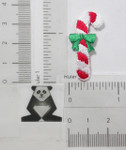 Candy Cane with Green Bow Iron On Patch Applique