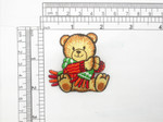 "Bear with Scarf Patch Iron On Embroidered Applique Measures 2"" x 2"" 50 x 50mm"