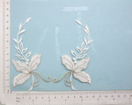 Bridal Flower Spray Appliques White Silver L&R Pair - Embroidered Iron On Patch