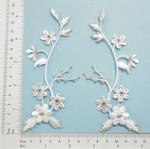 White  Flower Spray Iron On Applique White Silver L&R Pair.
