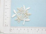 Off White Gold Beaded Bridal Flower Applique - Embroidered Iron On Patch