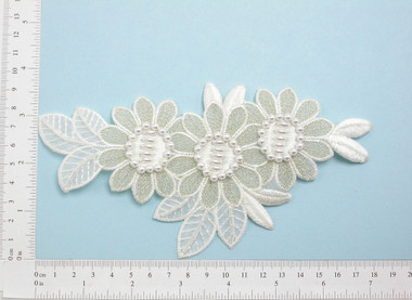 Off White Gold Beaded Bridal Applique - Floral Embroidered iron On patch