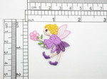 "Fairy & Flower Patch Embroidered Iron On Applique  Measures 1 5/8"" high x 1 1/2"" across"