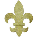 """Fleur De Lys Gold Embroidered Iron On Patch Applique 5 7/8"""" tall"""
