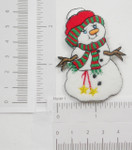 Iron On Patch Applique - Snowman Green Red Scarf