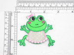 "Frog Patch with Pink Bib Iron On Embroidered Applique 2 3/8"" x 2 5/8"""