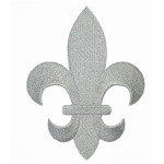 "Iron On Patch Applique - Fleur De Lys Metallic Silver 5 7/8"" tall"