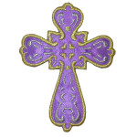 "Iron On Patch Applique - Sacred Heart Cross 3 7/8"" high Purple"