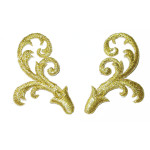 Pair Decorative Scrolls Metallic - L& R Iron On Patch Applique