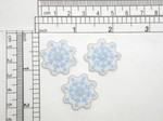 "3 x Snowflake Ice Blue Embroidered Iron On Applique Measures 1"" high x 1"" wide approximately"
