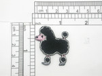 "Mini Toy Poodle Patch Iron On Embroidered Applique 1 1/4"" x  1 7/8"""