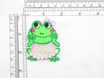"Frog Patch with Bib & Bow  On Embroidered Applique 2 3/8"" x 1 3/4"""