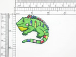 "Iguana Patch Iron On Embroidered Iron Applique Measures 2"" across x 1 7/8"" high"