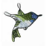 Iron On Patch Applique - Blue Hummingbird Flying Right