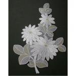 Iron On Applique - Floral Spray White & Gold