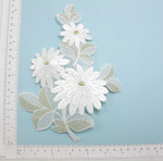 Large White Gold bridal Flower Applique - Embroidered Iron On Patch