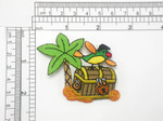 "Pirates Treasure Chest with Parrot Patch Iron On Embroidered Applique 2 3/4"" x 2 5/8"""